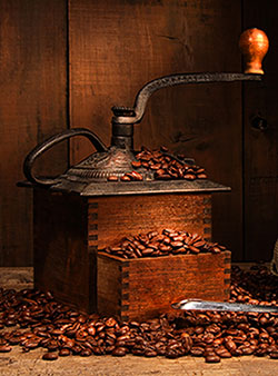 image of Coffee grinder and coffee beans